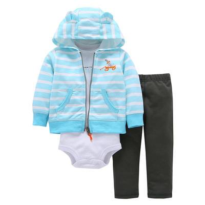 Autumn Spring Cotton Children Clothing Set 3 Pcs Hooded