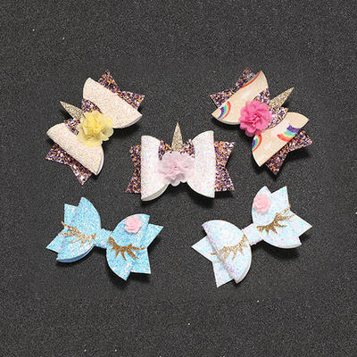 Exquisite Girl Unicorn Leather Kids Hairclip For Children